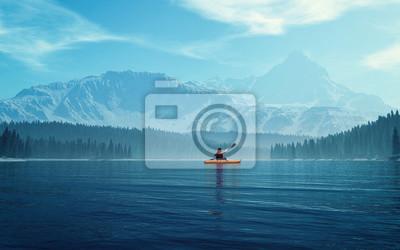 Poster Mann mit Kanu auf dem See