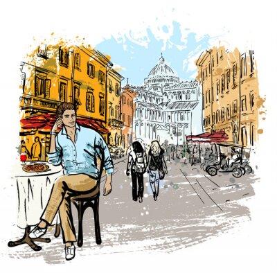 Poster Mann sitzt im Café