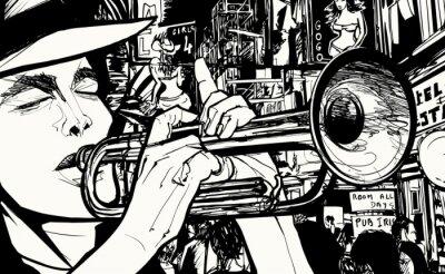 Poster Mann Trompete spielt in einem Rotlichtviertel
