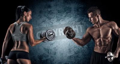 Poster Mann und Frau auf einem dunklen Hintergrund isoliert