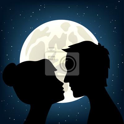 Mann und Frau küssen