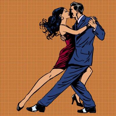 Poster Mann und Frau küssen Tanz Tango-Pop-Art-