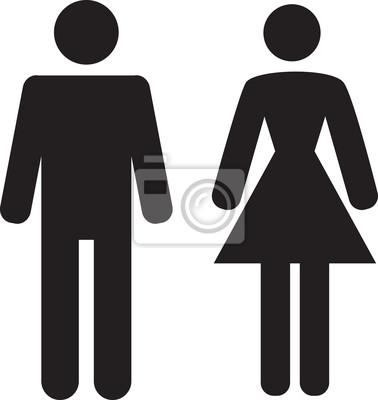 Poster Mann und Frau Symbol auf weißem Hintergrund