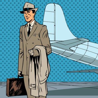 Poster Männlich Passagierluft Reisenden Geschäftsmann Geschäftsreise-Pop-Art Wieder