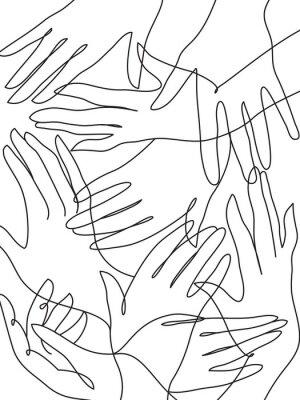 Poster Many hands line art drawing