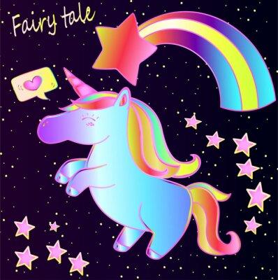 Poster Märchen - nettes Neoneinhorn und -regenbogen mit Herzen und Sternen auf einem dunklen Steigungshintergrund