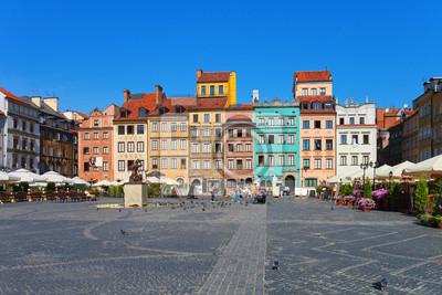 Poster Marktplatz in Warschau, Polen