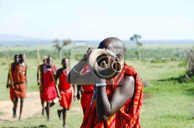 Poster Masai Kudu Horn Blasen - Kenia
