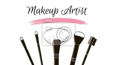 Poster Maskenbildner-Visitenkarte. Vektor-Vorlage mit Make-up-Elemente Pinsel Make-up und rosa Smear ein Pinsel Grunge