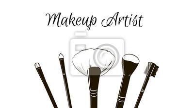 Poster Maskenbildner-Visitenkarte. Vektor-Vorlage mit Make-up-Elemente schwarze Mode Pinsel Make-up.