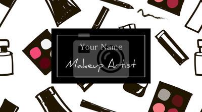 Poster Maskenbildner-Visitenkarteschablone. Set Handgezeichnete Kosmetik nahtlose Muster mit Platz für Ihren Text. Kosmetikfahne. Vektor Schönheit Illustration