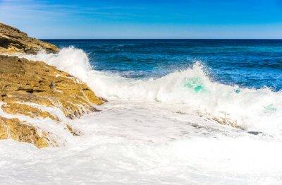 Poster Meer Wasser Wellen Schaum Fels Brandung
