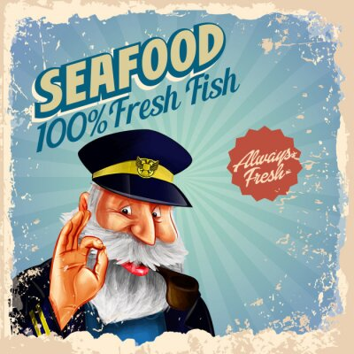 Poster Meeresfrüchte frischen Fisch Kapitän
