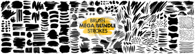 Poster Mega bundle of different ink brush strokes:rectangle,square and round freehand drawings.Ink splatters,grungy painted lines,artistic design elements:waves,circles,triangles.Vector paintbrush set.