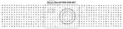 Poster Mega set of icons in trendy line style. Business, ecommerce, finance, accounting. Big set Icons collection. Vector illustration