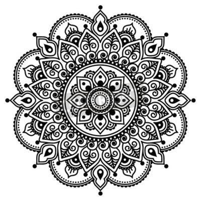 Poster Mehndi, indischen Henna Tattoo-Muster oder Hintergrund
