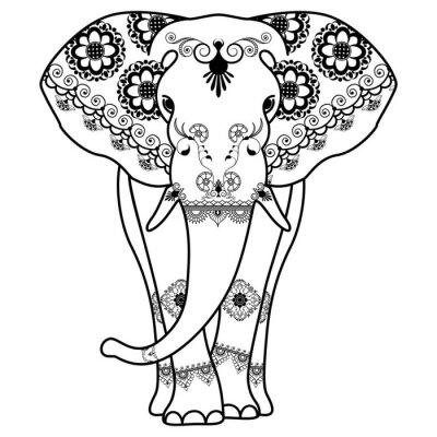 Poster Mehndi Tattoo Elefant im indischen Stil dekoriert