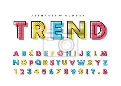 Poster Memphis alphabet & number set. Vector decorative pattern typography. Font collection for headline or title design of poster, brochure, scrapbook or print.