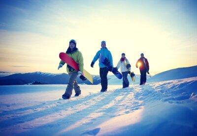Poster Menschen Snowboard Wintersport Freundschaft Konzept