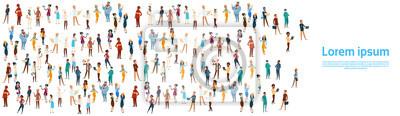Poster Menschengruppe, Andere Berufsbezeichnung, Mitarbeiter, Mischen, Rennen, Arbeiter, Spruchband, Vektor, Vektor