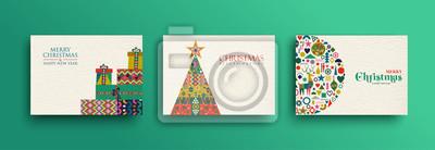 Poster Merry Christmas retro folk art card collection