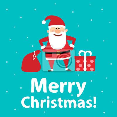 Poster Merry christmas.santa claus mit Tasche von Geschenken und Geschenk-Box