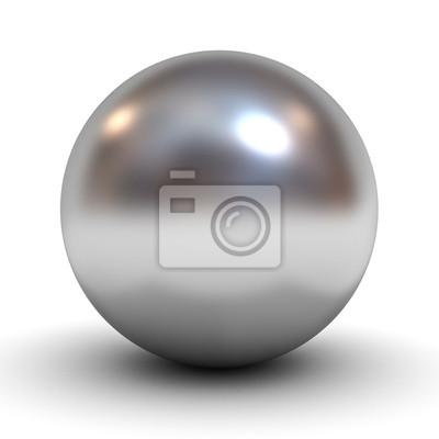 Poster Metallic Chrom-Kugel auf weißem Hintergrund