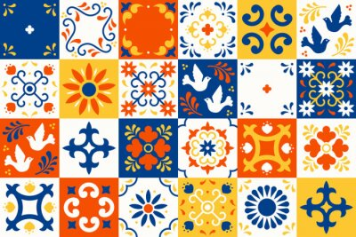 Poster Mexican talavera pattern. Ceramic tiles with flower, leaves and bird ornaments in traditional majolica style from Puebla. Mexico floral mosaic in classic blue and white. Folk art design.
