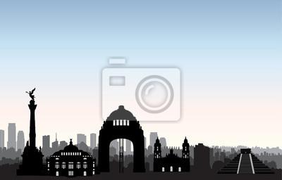 Mexiko Stadt Skyline. Cityscape Wahrzeichen Silhouette Reise Hintergrund
