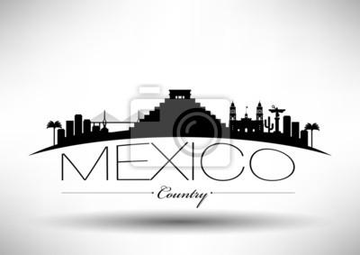 Mexiko Typografische Skyline Design
