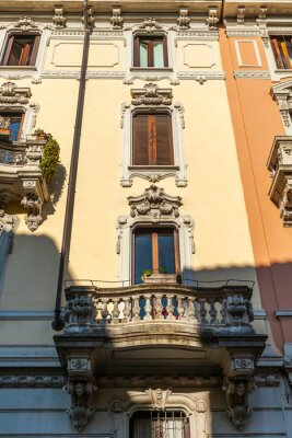 Milan, Italy, February 12, 2020. Typical architectural details of a building in a historic building area