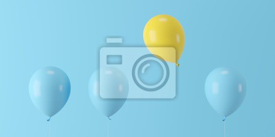 Poster Minimal concept outstanding yellow balloon floating with blue balloons on blue background