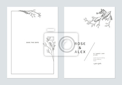 Poster Minimalist wedding invitation card template design, floral black line art ink drawing bouquet decorated on line frame on white