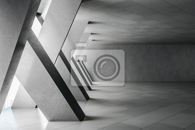 Poster Minimalistic concrete interior with columns