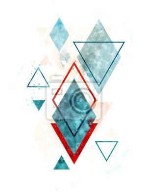 Poster Minimalistische skandinavische abstrakte geometrische Kunst im Aquarell