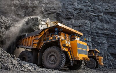 Poster mining truck in a coal mine loading coal