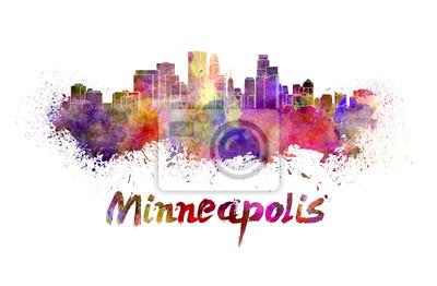 Minneapolis Skyline in Aquarell