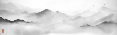 Poster Misty mountains with gentle slopes and flock of birds in the sky. Traditional oriental ink painting sumi-e, u-sin, go-hua.
