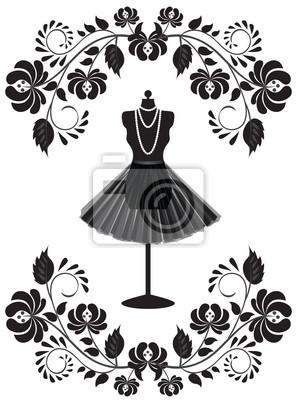 Mode-Karte mit Schaufensterpuppe mit Halskette und Rock in floral fr