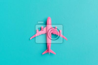 Poster Modellflugzeug, Flugzeug auf Pastellfarbhintergrund.