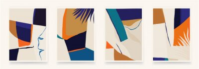 Modern abstract aesthetic illustrations with colorful plants. Contemporary wall decor. Collection of creative artistic posters.