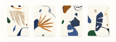 Modern abstract illustrations with shapes and plants. Contemporary wall decor. Collection of creative artistic posters.