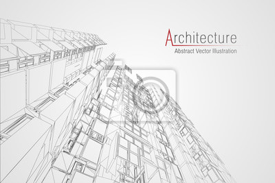 Poster Modern architecture wireframe. Concept of urban wireframe. Wireframe building illustration of architecture CAD drawing.