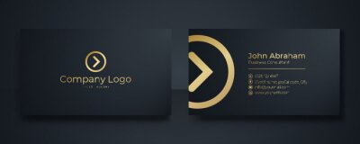 Poster Modern Business Card - Creative and Clean Business Card Template. Luxury business card design template. Elegant dark back background with abstract golden wavy lines shiny. Vector illustration