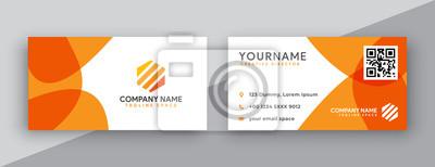 Poster modern business card design . double sided business card design template . flat orange business card inspiration