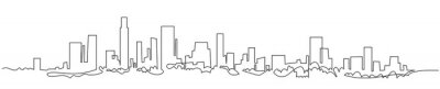 Poster Modern cityscape continuous one line vector drawing. Metropolis architecture panoramic landscape. New York skyscrapers hand drawn silhouette. Apartment buildings isolated minimalistic illustration