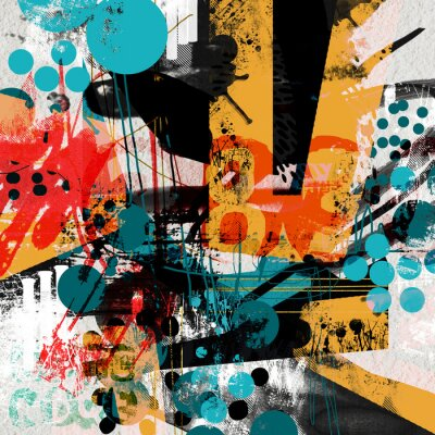 Poster Modern collage with grunge element and colorful textured forms