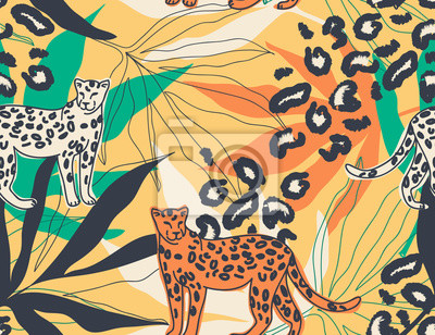 Modern exotic jungle illustration pattern with leopards. Creative collage contemporary floral seamless pattern. Fashionable template for design.