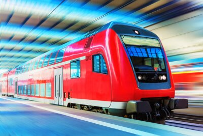 Poster Modern high speed train