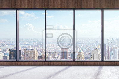 Poster Modern interior with city view